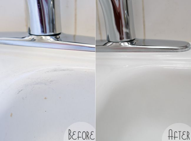 how to make an old porcelain sink look brand new using only one ingredient that costs less than. Black Bedroom Furniture Sets. Home Design Ideas