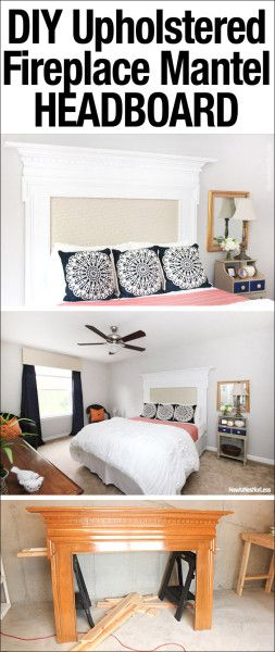 DIY Upholstered Fireplace Mantel Headboard!