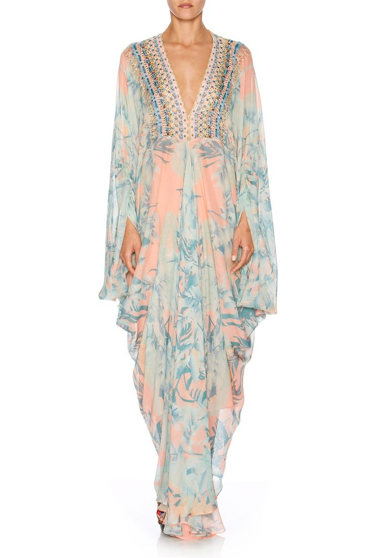 CAMILLA - GARDEN OF DREAMS PLEAT FRONT TSHAPE LONG KAFTAN - Dresses - Shop