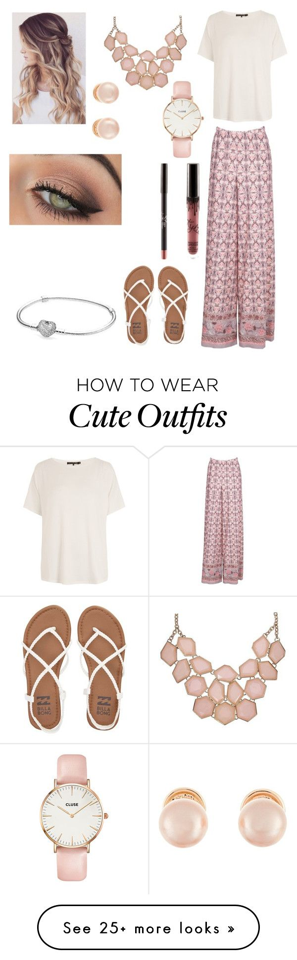 """Cute summer dinner outfit"" by agrava on Polyvore featuring rag & bone/JEAN, Billabong, Kenneth Jay Lane, CLUSE, tarte and Pandora"
