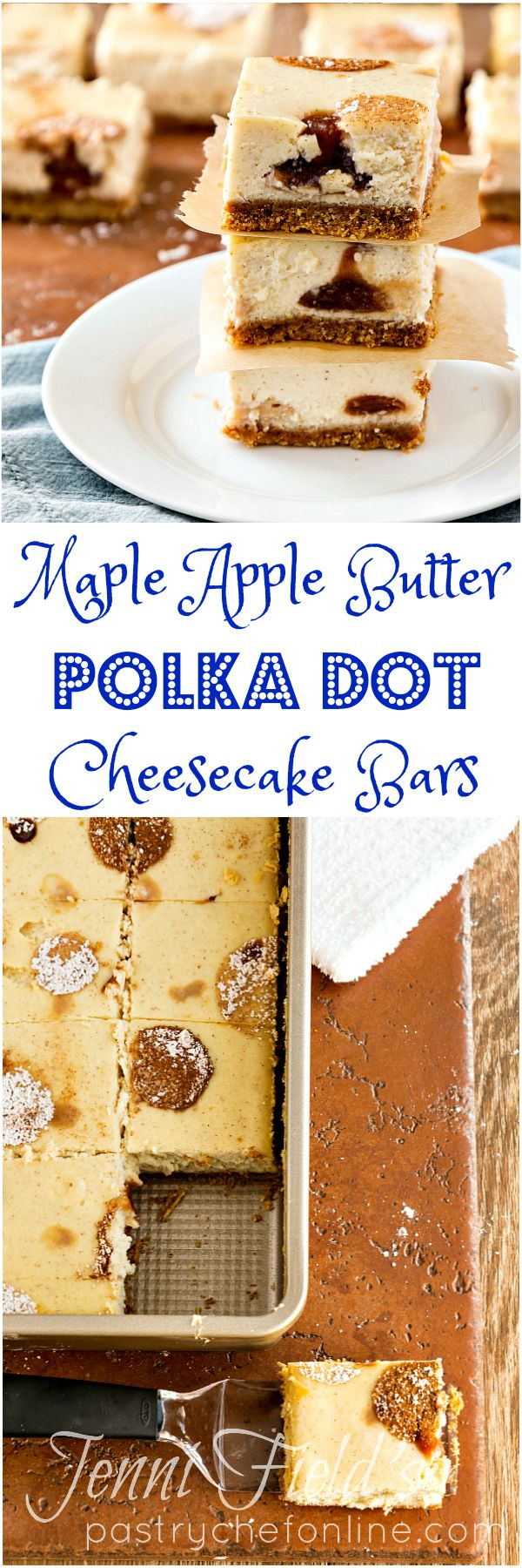 These maple apple butter polka dot cheesecake bars are fun to make and even more fun to eat. I love seeing the little polka dots of apple butter inside the bars when I cut them. And you can't beat maple, apple butter, and cinnamon for fall flavor. You're going to love this cheesecake bar recipe! | pastrychefonline.com