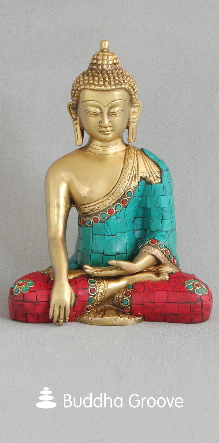 Brass Shakyamuni Buddha Statue with Colorful Detailing