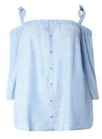 Womens DP Curve Plus Size Blue Chambray Bardot Top- Blue