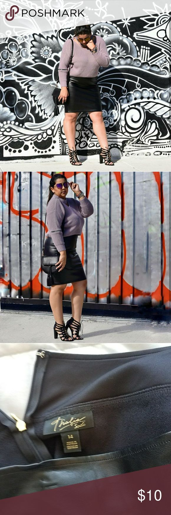 Black leather skirt! Gently used gorgeous leather skirt for your favorite night out! Thalia Sodi Skirts Midi