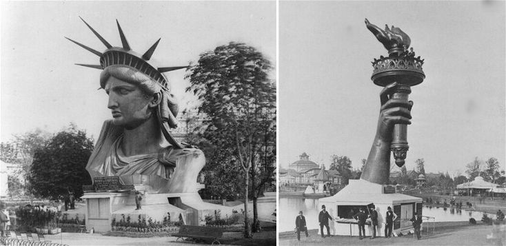 statue of liberty s head at the 1878 paris world s fair and arm at the 1876 centennial. Black Bedroom Furniture Sets. Home Design Ideas