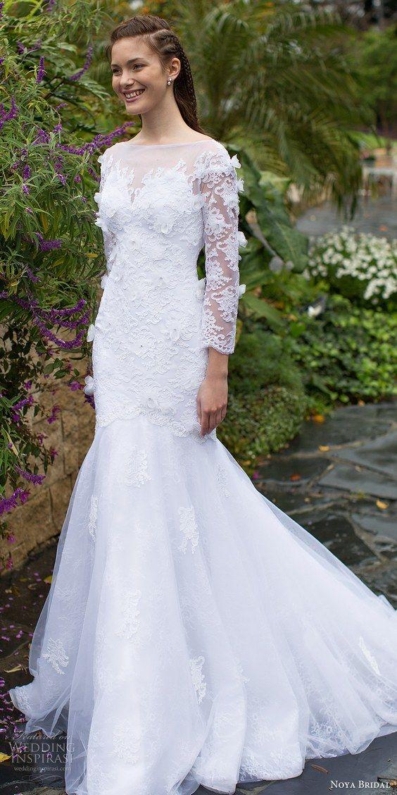 noya bridal 2016 long sleeves sweethart illusion bateau neck fit flare wedding dress