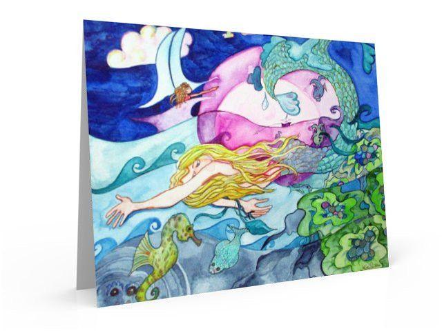 Mermaid and Seahorse greeting card