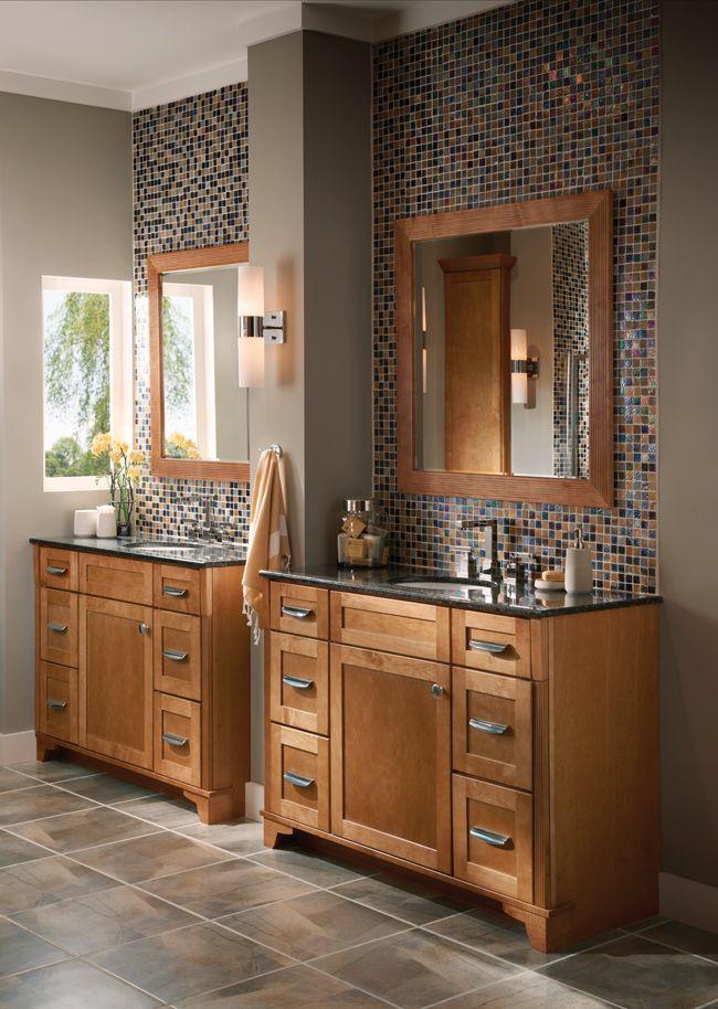 "Bathroom, Contemporary & Dynamic, Photo 176 - KraftMaid Photo Gallery   Like using 2 vanities instead of long double sink & column between (12"" ok)."