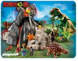 Volcano With Tyrannosaurus T-rex Dinosaur  #PLAYMOBIL® #Toy