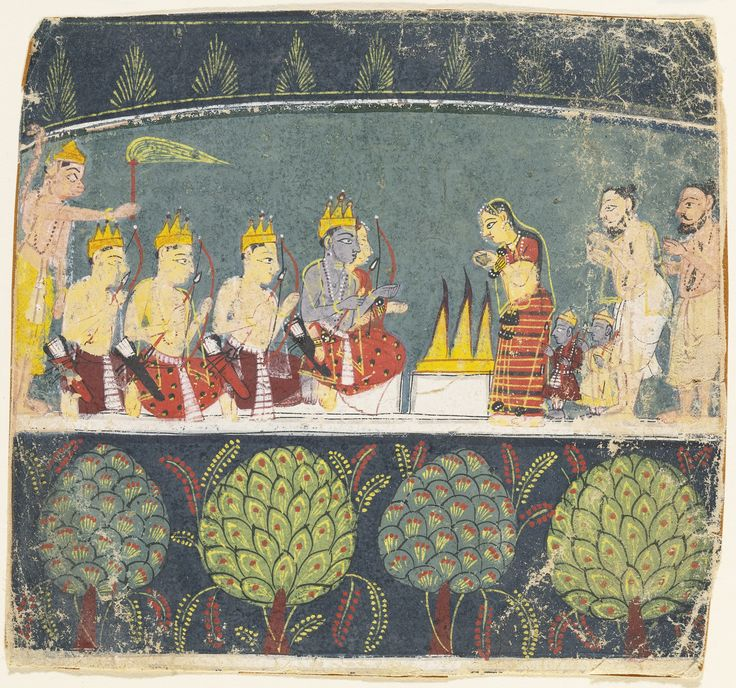 THREE ILLUSTRATIONS TO THE RAMAYANA: RAMA BLESSES VIBHISHANA, HANUMAN ATTACKS A FEMALE DEMON, AND RAMA, SITA AND THEIR CHILDREN IN FRONT OF A SACRED FIRE | lot | Sotheby's