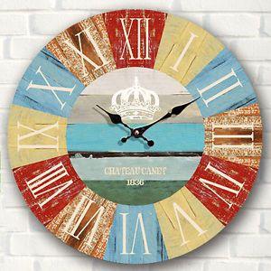 Grande-Vintage-Rustico-Reloj-De-Pared-Madera-Cocina-Antiguedad-Shabby-Chic-Retro