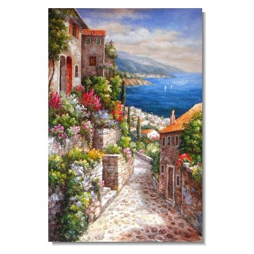 Mediterranean Old Street in Spring Flowers 3 Impressionist Landscape Oil Painting Canvas Art