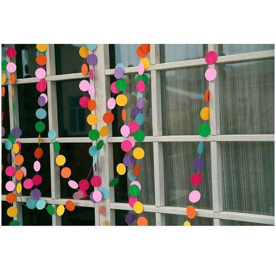 Beautiful, bright multi-coloured circles paper bunting/garland  Size: L- approx 4m Circles diameter 5cm  Space between circles approx 2cm   We used these for classrooms / shop…