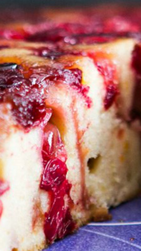 Cranberry Upside Down Cake ~ Dense and delicious cake with caramelized cranberries... Perfect dessert for Thanksgiving and holiday entertaining