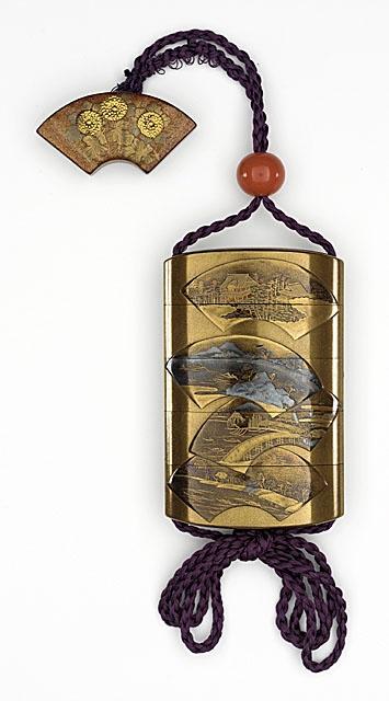 Jitokusai (Japan) , Yutokusai (Japan, active mid-19th century - active late 19th century) Inro, Ojime, Netsuke, 19th century Costume/clothing accessory/waistwear, Inro: lacquer on substrate, mixed metal flecks; Ojime: glass; Netsuke: lacquer on wood with inlaid gold