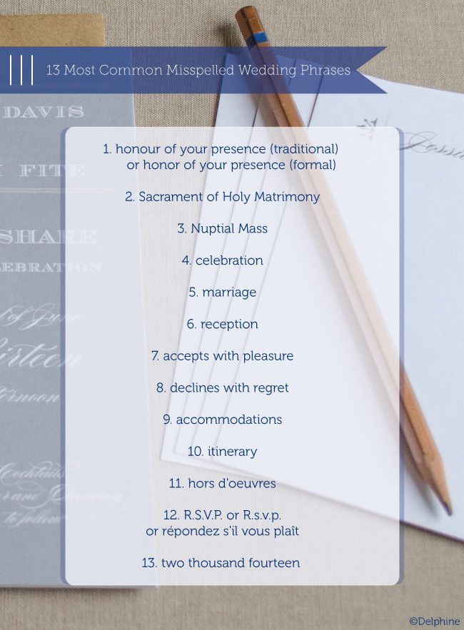 Wedding Invitation Etiquette: 13 Most Commonly Misspelled Wedding Phrases via Delphine