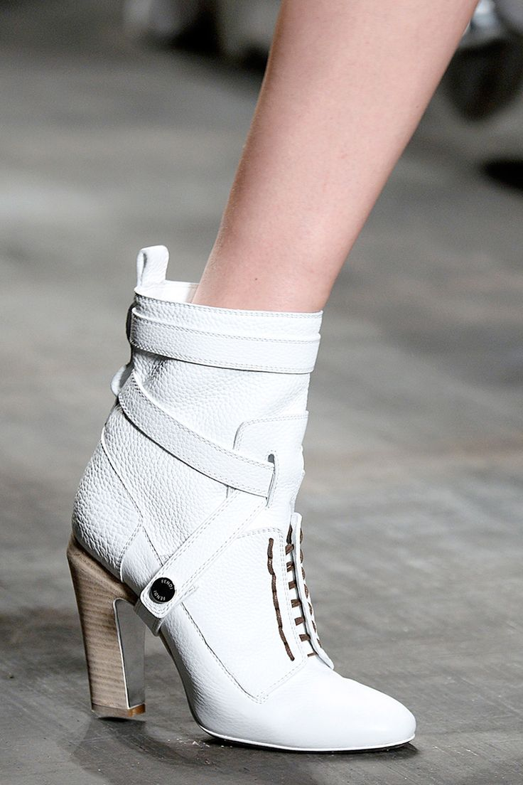 20 Shoes That Defined Fashion Month #refinery29  http://www.refinery29.com/best-shoes#slide2  The chunky heel, the slightly above-the-ankle fit, the textured leather — we would walk so proudly (and, sure, cautiously) in these pristine, white Fendi soles.