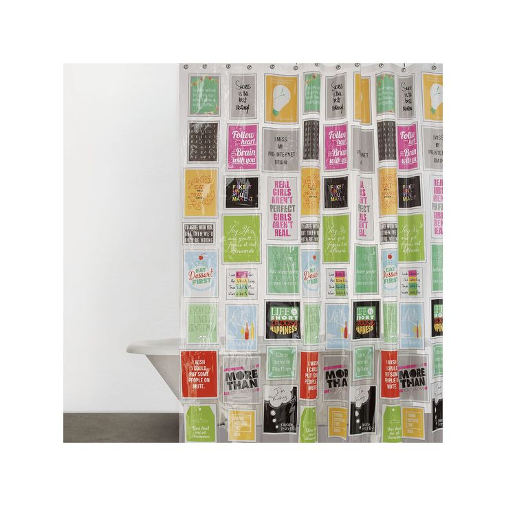 Just Sayin' Think Outside the Box Vinyl Shower Curtain, Multicolor