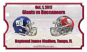 3 Buccaneers vs New York Giants tickets 10/1/17 SEC 332 ROW BB