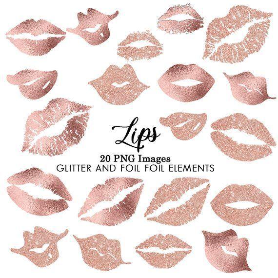 Rose Gold Kisses Glitter Foil Lips Clipart Custom Invitations Clip Art Digital Download Lipstick Stain Clip Art Lips Mark Clip Art Lipsc Clip Art Glitter
