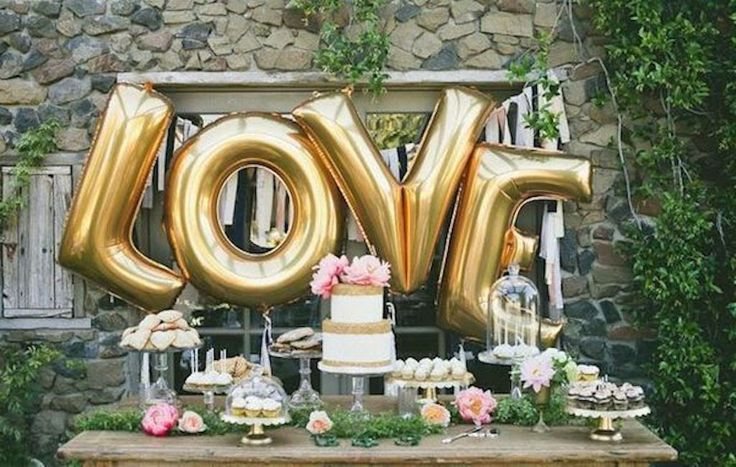 "L-O-V-E  40"" Inch gold mylar balloons Wedding/Bridal Shower/Photo Shoot by janetmorrin on Etsy"