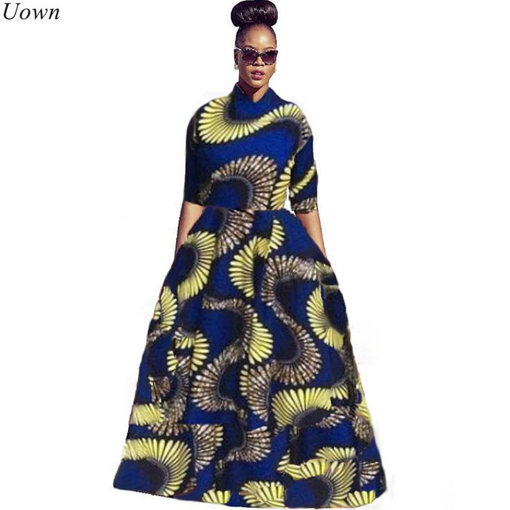 >> Click to Buy << Uown Autumn Traditional African Print 2 Piece Dress for Women Long Maxi Dresses Half Sleeve Bazin Riche Vintage Dashiki Dress #Affiliate