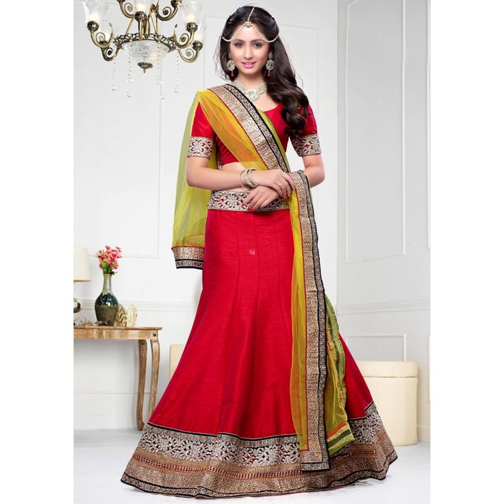 Stylish Red Dupion Silk #Lehenga Choli- $82.27