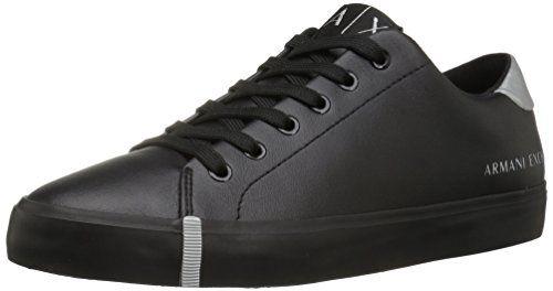 A|X Armani Exchange Women's Eco Leather Fashion Sneaker, Black, 8 M US