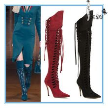 Western new fashion cut out women boot 2014 autumn winter, over the knee lace up womens boots(China (Mainland))