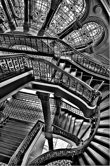 Old Style Workmanship (Monochrome Version) – The Grand Staircase, Queen Victoria Building – The HDR Experience by Philip Johnson