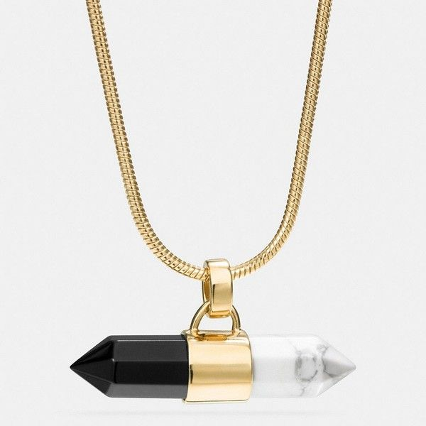 Coach Long Two Tone Amulet Necklace ($150) ❤ liked on Polyvore featuring jewelry, necklaces, multi, wrap necklace, carved jewelry, two tone jewelry, long necklace and coach jewelry