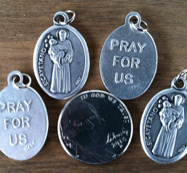 St. Cayetano (Cajetan, Gaetano) holy medal -- Italian Catholic saint, patron of job seekers and the unemployed by ChillyPumpkin on Etsy