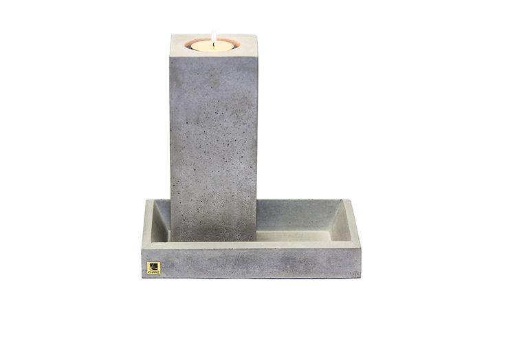 Zestaw świecznik Cobo Maxi   taca Mona Mini z betonu architektonicznego