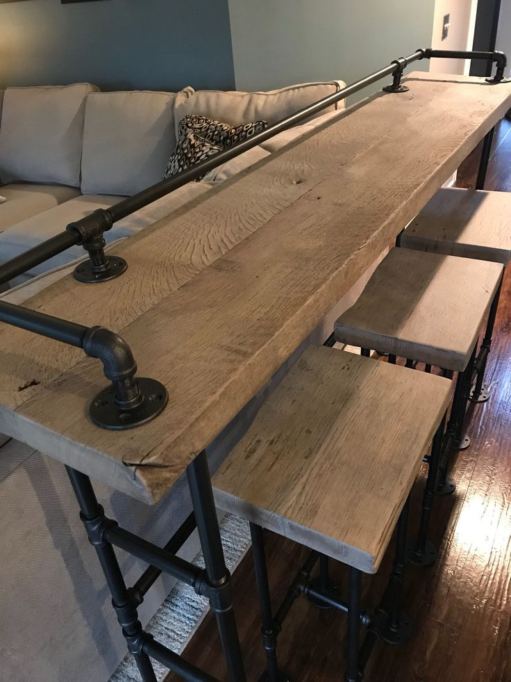Rustic Gray Reclaimed Barn Wood Sofa Bar Table – 7ft – Restaurant Counter Community Cafe Coffee Conference Office Meeting Pub High Top