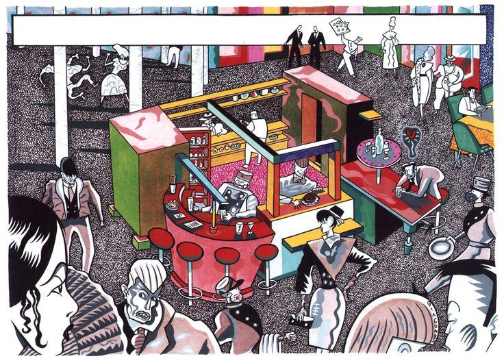 Snaporazz restaurant, visualizzazione progetto ristorante in California, Sottsass associati, 1984