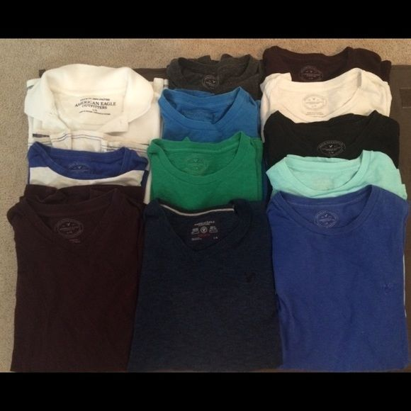 12 mens American Eagle Shirts 11 t-shirts and one long sleeve shirt.  All in great condition! American Eagle Shirts Tees - Short Sleeve
