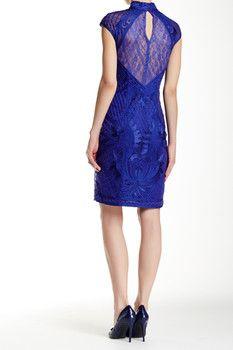 Sue Wong Ribbon Yarn Cap Sleeve Dress