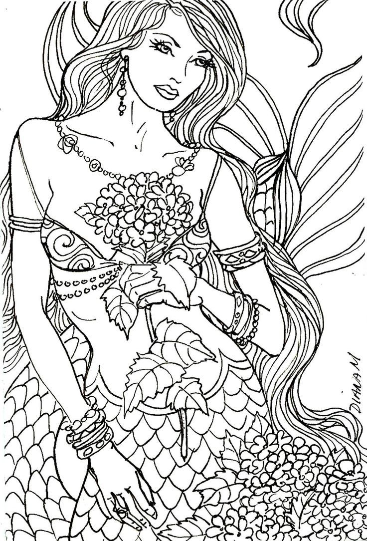 25 best mermaid coloring pages for adults images on
