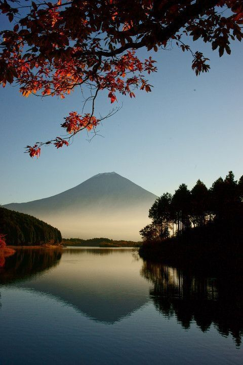 Mount Fuji from a distance.