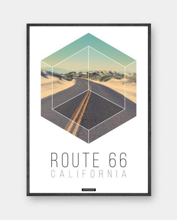 ROUTE 66: Plakat i minimalistisk design med fotokunst og unik grafisk tekst. Route 66 er en rejse plakat fra Californien.
