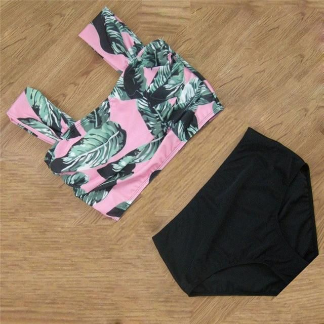 New Summer Bikinis Women Biquinis Striped Top Floral Bottom Swimsuit High Waist Bikini Brazilian Biquini Set CU866887