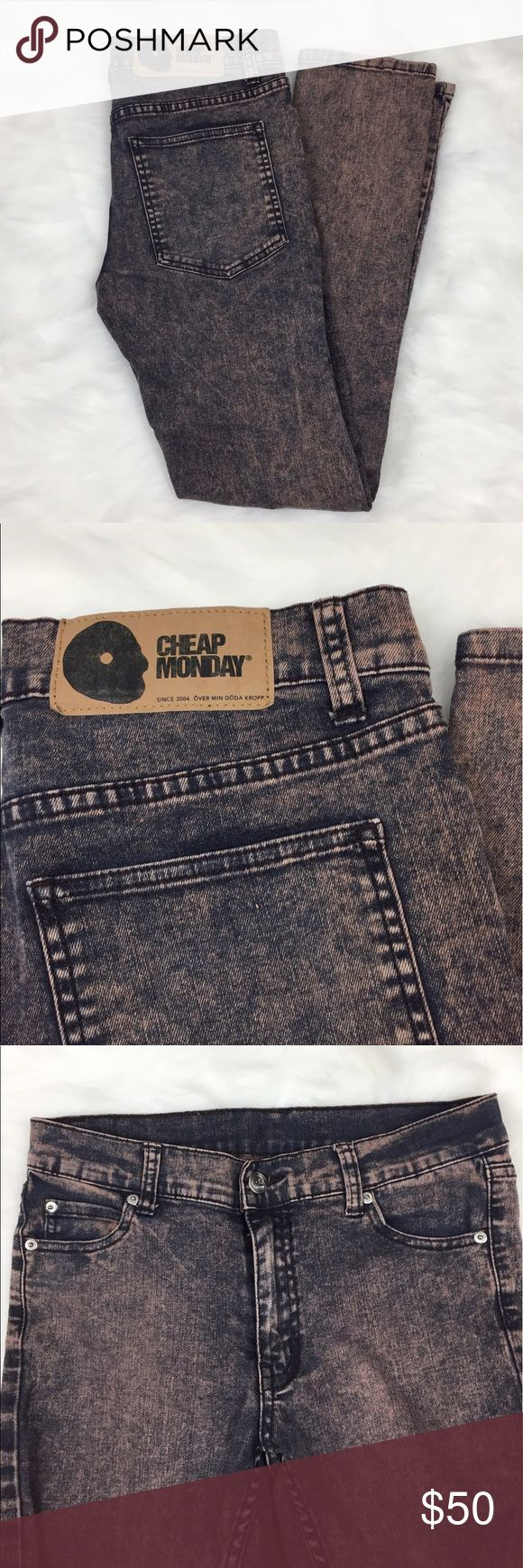 "Cheap Monday pink Acid Wash Skinny Jeans Gently used Cheap Monday Pink acid wash skinny jeans. Size 29/30. Inseam: 29.5"", rise: 8.5"", hips: 17"" flat across, waist: 14.5"" flat across Cheap Monday Jeans Skinny"