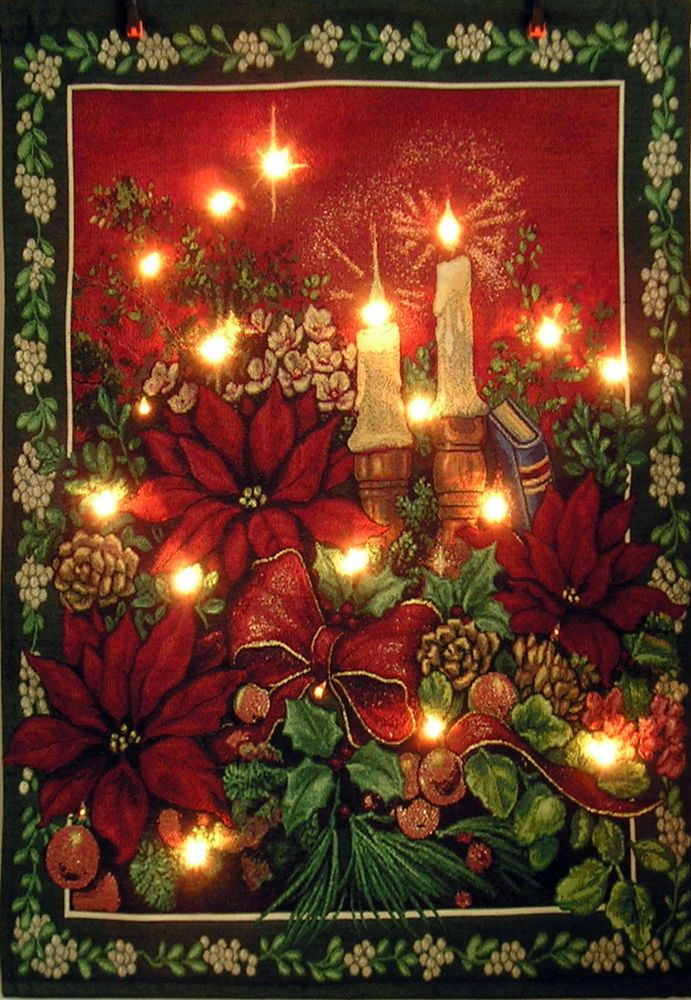 Hanging Tapestry Lighted Poinsettias & Candles Christmas Holiday Wall Art #Unbranded   Holiday ...