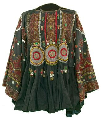 Woman's wedding dress (jumlo), Indus Kohistan, Northwest Frontier Province, Pakistan, silk floss embroidery on plain-weave cotton, 33½ by 63 inches, mid-Twentieth Century. Textile Museum of Canada.