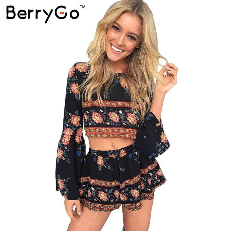 BerryGo Fashion boho print elegante jumpsuit romper Zomer strand backless sexy playsuit Vrouwen tweedelige bloemen korte overalls