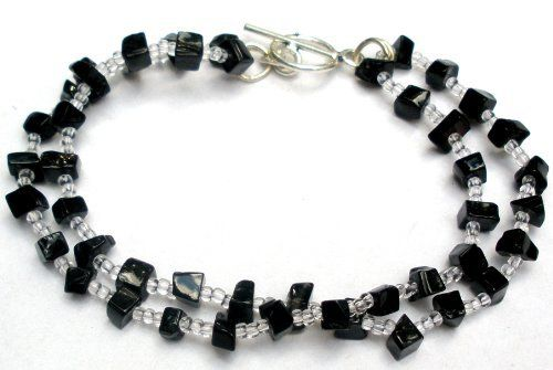 Handmade Beaded Bracelet - Semi Precious Onyx Stones & Clear Beads [Jewelry] Beaded. $13.75