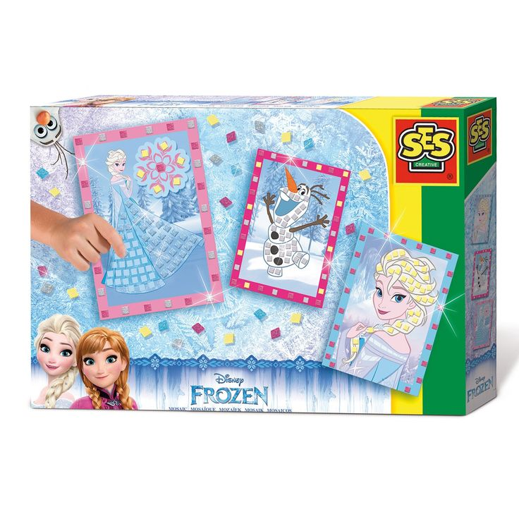 Maak je eigen mozaïek van Disney Frozen met deze set van SES. Plak de zelfklevende glimmende mozaïekstukjes op de prinsessen Anna en Elsa en sneeuwpop Olaf en laat ze stuk voor stuk schitteren! De set bevat metallic, roze, gele en blauwe zelfklevende eva-foam blokjes en 3 kartonnen kaarten. Afmeting:verpakking 30 x 20 x 4 cm. - SES Disney Frozen Mozaïek