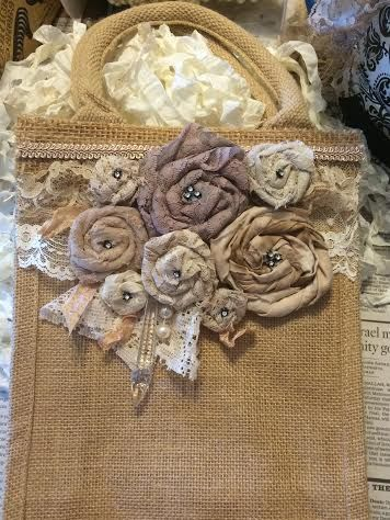 Large embellished burlap bag/ handmade roses