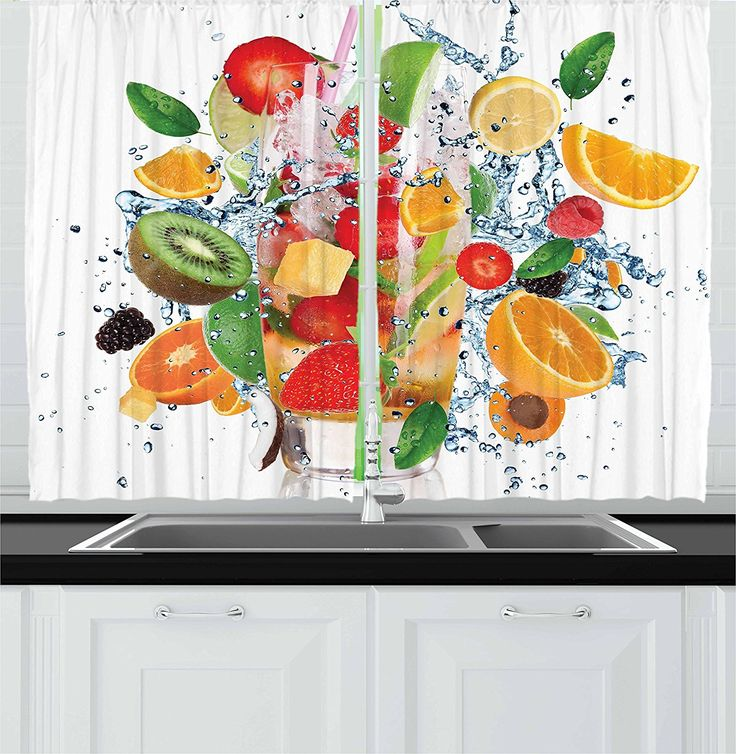 Ambesonne Fruits Decor Collection Fruit Tail With Splashing Water Strawberry Tropics Cheerful Fun Summertime Image Kitchen Curtainswindow