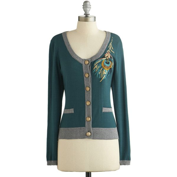 Nick & Mo Short Long Sleeve Plume and Bloom Cardigan ($75) ❤ liked on Polyvore featuring tops, cardigans, sweaters, blue, green, modcloth, women's clothing, embellished cardigan, ribbed cardigan and green lace top